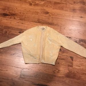 Vintage yellow sequin jacket-small